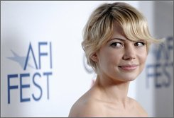 "Michelle Williams, a cast member in the film ""Wendy and Lucy,"" poses on the red carpet during AFI Fest 2008 in Los Angeles, Saturday, Nov. 8, 2008. (AP Photo/Chris Pizzello)"