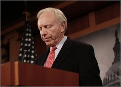 Sen. Joseph Lieberman, I-Conn. makes a statement on Capitol Hill in Washington, Thursday, Nov. 6, 2008, after meeting with Senate Majority Leader Reid of Nev. (AP Photo/Lauren Victoria Burke)