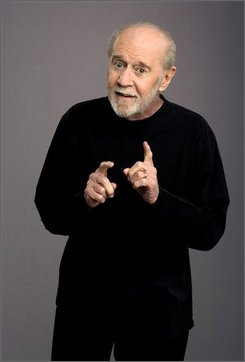 "This an undated file photo originally released by HBO shows George Carlin in a promotional photo for his HBO special, ""Its Bad For Ya"". Jon Stewart, Bill Maher and Margaret Cho are sure to crack some political jokes as part of the all-star lineup of entertainers who will honor the late comedian George Carlin, who is being awarded the Mark Twain Prize for American Humor on Monday, Nov. 10, 2008.  (AP Photo/HBO, Robert Sebree,file )"