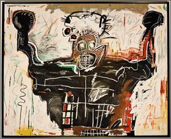 "This photo of a 1982 acrylic and oil paintstick on linen painting ""Untitled (Boxer)"" by the late artist Jean-Michel Basquiat, was released by Christie's auction house in New York, Wednesday, Nov. 12, 2008. The painting sold at auction in New York by Christies, Wednesday for$14 million, exceeding its pre-auction estimate of $12 million. (AP Photo/Christie's)"