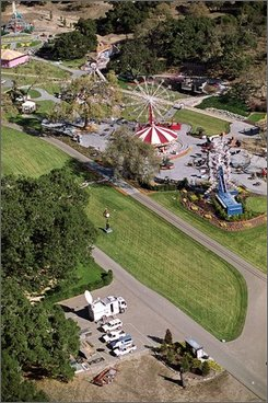This  Dec. 22, 1993, file photo shows an aerial view of Michael Jackson's Neverland ranch in Santa Ynez, Calif.  Jackson has given up title to his Neverland ranch, transferring the deed to a company he partly controls. (AP Photo/Mark J. Terrill, file)