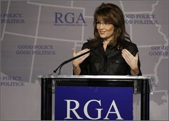 Alaskan Gov. Sarah Palin speaks during the Republican Governors Association Annual Conference in Miami Thursday, Nov. 13, 2008. (AP Photo/Lynne Sladky)