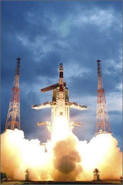 In this Oct. 22, 2008 handout file photograph provided by the Indian Space Research Organization, India's maiden lunar mission Chandrayaan-1, or Moon Craft in ancient Sanskrit, is seen successfully taking off at the Satish Dhawan Space Centre in Sriharikota, about 100 kilometers (63 miles) north of Chennai, India. India became the fourth nation to mark its presence on the Moon after a Moon Impact Probe painted with the national tri-color successfully landed on the lunar surface after being detached from the unmanned spacecraft Chandrayaan-1, according to the Indian Space Research Organisation.  (AP Photo/Indian Space Research Organization, HO, File)
