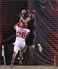 San Diego State receiver Darren Mougey beats Utah's R.J. Stanford for touchdown reception during the second quarter of their NCAA college football game Saturday Nov. 15, 2008 in San Diego. (AP Photo/Lenny Ignelzi)