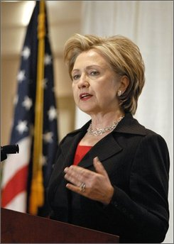 Sen. Hillary Rodham Clinton, D-N.Y., speaks at a New York Public Transit Association conference in Albany on Friday, Nov. 14, 2008.   Clinton said she would not comment on speculation that she may be selected to become President-elect Barack Obama's secretary of state..  (AP Photo/Tim Roske)