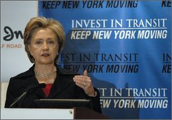 Sen. Hillary Rodham Clinton, D-N.Y., speaks at a New York Public Transit Association conference in Albany on Friday, Nov. 14, 2008.  Clinton said she would not comment on speculation that she may be selected to become secretary of state.  (AP Photo/Tim Roske)