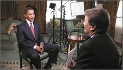 In this Nov. 14, 2008 photo released by CBS, President-elect Barack Obama speaks with CBS' 60 Minutes reporter Steve Kroft in Chicago. (AP Photo/CBS)
