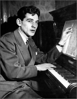 In this Nov. 14, 1943 file photo, twenty-five year old Leonard Bernstein, Assistant Conductor of the New York Philharmonic-Symphony Orchestra, is shown at the piano at Carnegie Hall in New York. (AP Photo, file)