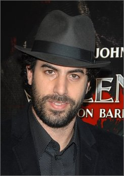 """In this Dec. 3, 2007 file photo, Sacha Baron Cohen arrives at the premiere of """"Sweeney Todd"""
