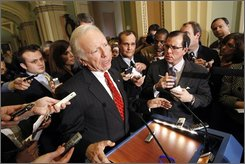 Sen. Joseph Lieberman, I-Conn., talks to reporters on Capitol Hill in Washington, Tuesday, Nov. 18, 2008, following a Democratic Caucus meeting.  (AP Photo/Gerald Herbert)