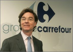 In this Aug. 29, 2008 file photo, outgoing CEO Jose Luis Duran of Carrefour SA is seen prior to a press conference in Levallois Perret, outside Paris. Carrefour SA said Tuesday Nov. 18, 2008 it will replace its chief executive with a former top manager at Switzerland's Nestle SA, the culmination of long-simmering tensions over the French retail giant's performance and strategy. Carrefour's board named Swede Lars Oloffson to replace outgoing CEO Duran, effective Jan. 1, 2009. (A Photo/Michel Euler, File)