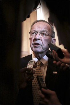 Sen. Ted Stevens, R-Alaska, talks with reporters on Tuesday, November 18, 2008 on Capitol Hill in Washington. (AP Photo/Lauren Victoria Burke)