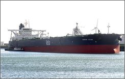 This undated picture made at an unknown location shows the the MV Sirius Star a Saudi oil supertanker which has been hijacked by Somali pirates. The owner of a Saudi oil supertanker hijacked by Somali pirates over the weekend said the 25 crew members are safe and the ship is fully loaded with crude -- a cargo worth about US$100 million at current prices. Dubai-based Vela International Marine Ltd., a subsidiary of Saudi oil company Aramco, said in a statement Monday, Nov. 17, 2008, that company response teams have been set up and are working to ensure the release of the crew and the vessel. (AP Photo/Christian Duys)