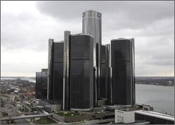 General Motors Corp. headquarters is shown in Detroit, Thursday, Nov. 20, 2008. Democratic leaders in Congress sidetracked legislation to bail out the auto industry Thursday and demanded the Big Three automobile manufacturers develop a plan assuring the money would make them economically viable. (AP Photo/Paul Sancya)