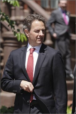 FILE - In this May 5, 2011 file photo, Treasury Secretary Timothy Geithner leaves Blair House in Washington, following a meeting on deficit reduction.  The bad economy has shortened the life of the trust funds that support Social Security and Medicare, the nation's two biggest benefit programs, the government reported Friday. The annual checkup said the Medicare hospital insurance fund will now be exhausted in 2024, five years earlier than last year's estimate. The new report says that the Social Security trust fund will be exhausted in 2036, one year earlier than before. (AP Photo/J. Scott Applewhite, File)
