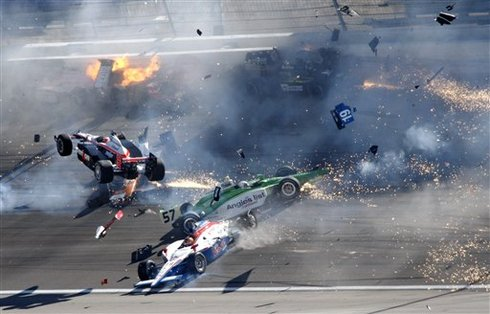 Today Auto Racing on Involved 15 Cars During The Indycar Series  Las Vegas Indy 300 Auto
