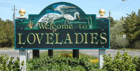The welcome sign for Loveladies,  N.J.