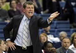 Connecticut coach Geno Auriemma says that with five freshmen on the team this year, it's unlikely they will go undefeated for a third straight season.