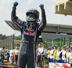 Sebastian Vettel celebrates after his victory at the Brazilian Grand Prix in Sao Paulo, Brazil.