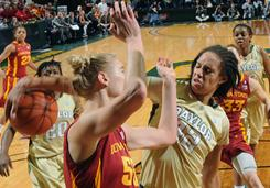 Baylor's Brittney Griner, right, reaches for the ball over Iowa State's Anna Prins during Baylor's 70-58 victory in Waco, Texas.