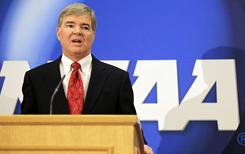 Mark Emmert said that the idea of paying college athletes won't come to fruition as long as he holds his current position as NCAA president.