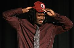 Jadeveon Clowney said he visited South Carolina during a news conference Monday.