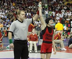 Cassy Herkleman is announced as the winner of her first match at the state championship meet by default when Linn-Mar's Joel Northrup declined to wrestle in the match.