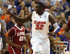 Florida's Vernon Macklin celebrates Tuesday during the Gators' rout of Alabama in Gainesville, Fla.