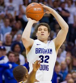 BYU's Jimmer Fredette scored 38 points as the Cougars bounced back with a 102-78 rout of Wyoming Saturday in Provo, Utah.