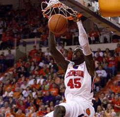 Clemson's Jerai Grant dunks during the Tigers' victory over Virginia Tech Saturday in Clemson, S.C.