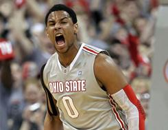 Jared Sullinger celebrates during No. 1 Ohio State's rout of 10th-ranked Wisconsin Sunday in Columbus, Ohio.