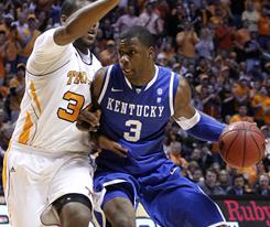 Kentucky's Terrence Jones drives while being defended by Tennessee's Jeronne Maymon during the Wildcats' road victory in Knoxville, Tenn.