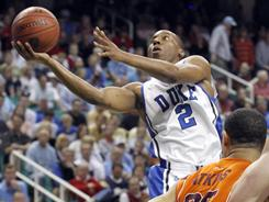 Nolan Smith takes it to the basket during Duke's victory over Virginia Tech in the ACC semifinals in Greensboro, N.C.