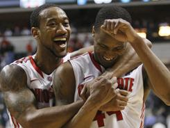 David Lighty, left, William Buford and the Ohio State Buckeyes are happy that they were picked as a No. 1 seed for the NCAA tournament.