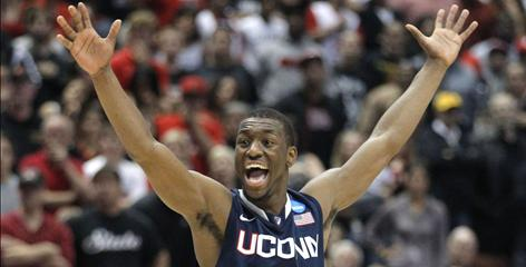 Kebma Walker lets loose after the final buzzer in UConn's win over San Diego State Thursday.