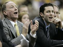 With the retirement of Valparaiso coach Homer Drew, left, his son Bryce, right, will take over as the Crusaders coach.