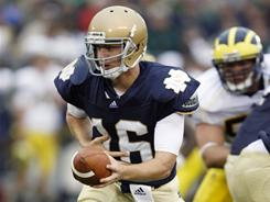 Nate Montana, here playing for Notre Dame in 2010 and currently vying for the starting QB job at the University of Montana, was arrested on suspicion of drunk driving.