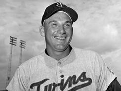 Harmon Killebrew, pictured in 1963, was a feared slugger for the Minnesota Twins. The Hall of Famer died Tuesday at 74 after a battle with esophageal cancer.