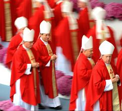 Pope Benedict XVI has summoned the world's cardinals to Rome to discuss dealing withn the sexual abuse crisis. Here the cardinals of Spain are show arriving for the pope's Mass in  Santiago de Compostela, on November 6, 2010 during a two-day visit in Spain.