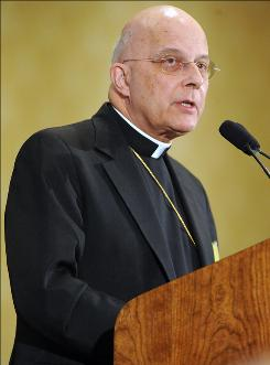 Cardinal Francis George, outgoing president of the U.S. Conference of Catholic Bishops, addresses the conference for the last time during the its annual fall meeting Monday, Nov. 15, 2010 in Baltimore. The conference will elect a new president Nov. 16.