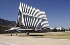 United States Air Force Academy Cadet Chapel on the campus of the Academy.  The service is including religion and chaplain assistance in forestalling or treating veterans' post traumatic stress disorders.