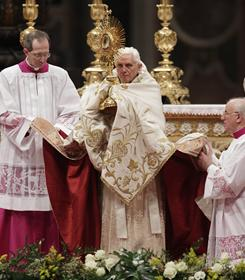 Pope Benedict XVI, shown here at St. Peter's Basilica Tuesday, flanked by bishops Franco Camaldo, right, and Guido Marini, can no longer be an organ donor. He supports donation but  had to relinquish his donor card when he was elected pope.