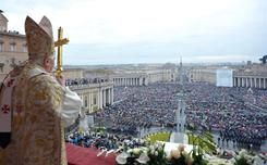 Pope Benedict XVI addressed the faithful crowds in St. Peter's Square last Easter. The number of Catholics worldwide has grown 1% to 1.18 billion, according to the latest Vatican statistics.