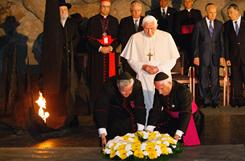 Pope Benedict XVI, shown here in 2009 visiting Israel's holocaust memorial museum, Yad Vashem, has a new book out saying the Jewish people are not to blame for Jesus' death.