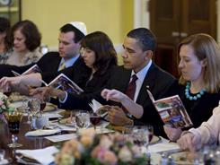 At President Obama's second annual White House Passover seder last year, guests read prayers from a Maxwell House Haggadah.