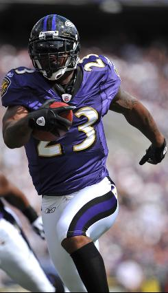 Despite his limited number of touches, running back Willis McGahee has scored two touchdowns in each of the Ravens' three games: five rushing and one receiving.
