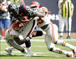 Texans running back Derrick Ward gained 58 yards on three carries against the Chiefs, whose defense had held firmbefore Houston rallied in the second half to win in Week 6.