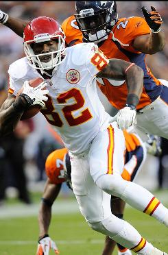Chiefs receiver Dwayne Bowe caught 13 passes for 186 yards and two touchdowns in a 49-29 loss to the Broncos in Week 10.
