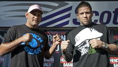 "Dan Henderson, left, and Renato ""Babalu"" Sobral have combined for 61 victories since starting their professional MMA careers in 1997."