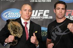Georges St. Pierre, left, and Jake Shields will headline UFC 129 on April 30 in Toronto.